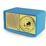 Reacher Retro Altavoz portátil de Bluetooth, altavoz del jugador MP3 con la luz del LED, banco incorporado de la energía, micrófono, ayuda Micro TF tarjeta del SD, AUX Line-In, conductor del USB, conductor audio de gran alcance 7W (azul)