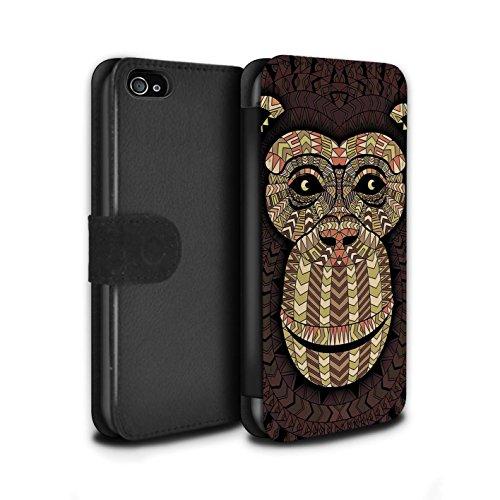 Stuff4® PU-Leder Hülle/Case/Tasche/Cover für Apple iPhone 4/4S / AFFE-Sepia Muster/Aztec Tier Muster Kollektion (Iphone 4s Affe)