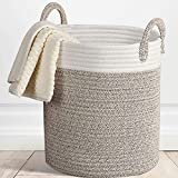 La borsa naturale pieghevole lavabile in cotone corda fatta a mano giocattoli cucina grande camera da letto cesto di stoccaggio con manico lavanderia pratico tessuto