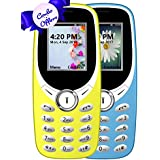 IKALL K31 Basic Feature Mobile Phone (Sky Blue And Yellow, 64MB) - Pack Of 2