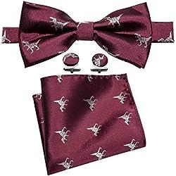 Barry.Wang - Corbata - para hombre Rojo Bow Burgundy Talla única