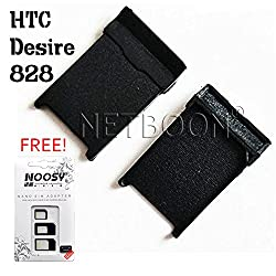 NETBOON Premium Quality HTC Desire 828 Single Sim Tray Replacement Card Holder With Free Noosy Sim Adaptor - Black
