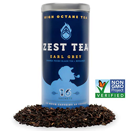 Zest Tea Energie Tee - Erhöhter Koffein Granatapfel Mojito Green Tea - 140 mg Koffein pro Beutel 15 Sachets Granatapfel Mojito Green Tea w/Limette, Minze, Chinese Green Tea
