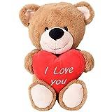 TE-Trend Plüsch Teddy Bär mit Rotem Herz Weiß Bestickt I Love You 40cm Kuscheltier Teddybär Braun Baby Kleinkind Stofftier