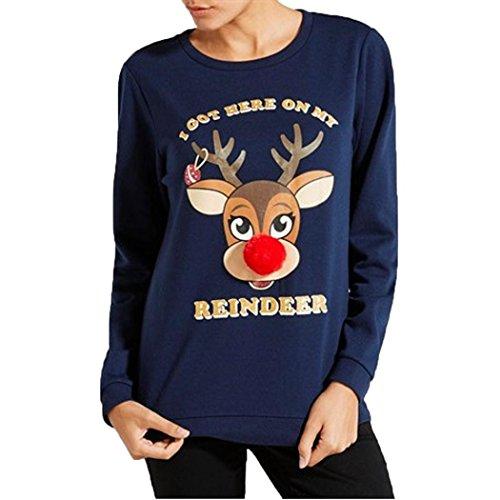 Ninasill Damen Bluse, ღ ღ Weihnachten Hirsch Bedruckt Pullover Weihnachten T-Shirt Tops Bluse Casual Medium Blau