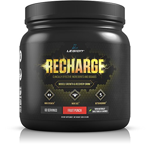 Legion Athletics Recharge Post Workout Supplement - Best All Natural Muscle Builder & Recovery Drink W/ Creatine Monohydrate. For Men & Women Who Want Safe & Healthy Results. Fruit Punch, 60 Servings