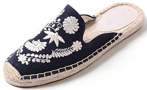 Simplec ricamo donne slip-on mulo fancy flat espadrilles marina militare bianca fiore39