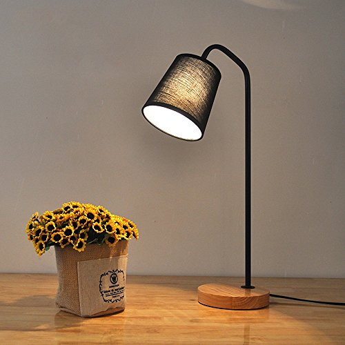 uus Lampe de table en bois massif en métal tissu noir couleur blanc couleur chambre lampe de chevet E27 ampoule base 28 * 50cm (économie d'énergie A +) ( Couleur : Noir , taille : 28*50cm )