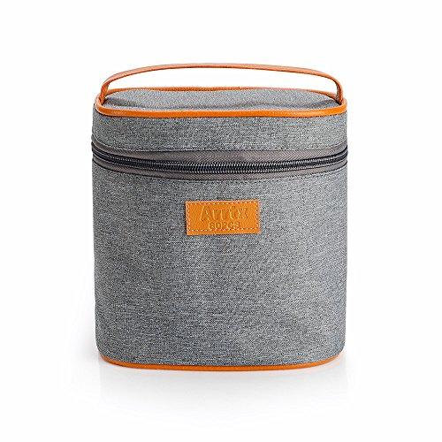 Arrtx Aufbewahrungstasche, grau, Leinen, mit Reißverschluss, für Stifte, Schulbedarf, Make-up-Pinsel, als Handtasche, hohes Fassungsvermögen -