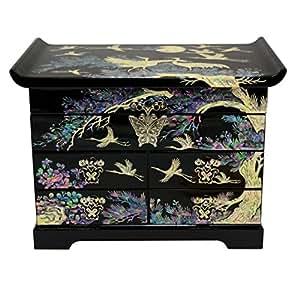 Grande boite à bijoux noire, décoration asiatique de luxe en nacre naturelle. Nombreux rangements, baguier et miroir.