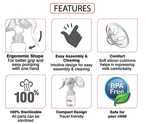 LuvLap Manual Breast Feeding Pump for Comfort and Easy One Hand Operation
