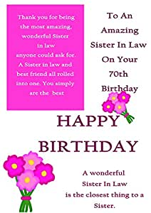 Sister In Law 70th Birthday Card With Removable Laminate Amazonco