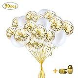 SPECOOL Ballons Blancs d'or, 50pcs Latex Ballons Blancs et Ballons de Confettis Or Ballons de Décoration de Fête Parfait pour Le Mariage Nuptiale Baby Shower Fête d'anniversaire Filles Garçons