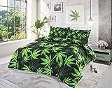 Sleepy eyes Cannabis Weed Duvet Quilt-Set, mit 2Kissenbezügen, 50% Baumwolle, 50% Polyester, Cannabis Black, Single Duvet Cover Set