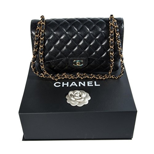 Price comparison product image Chanel Women's Black Quilted Leather Shoulder Double Flap Bag