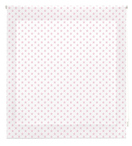 Blindecor Stars Estor Enrollable, Tela, Blanco con Estrellas Rosa, 150 x 180 cm