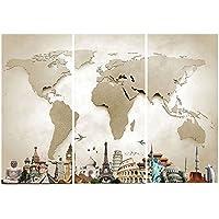 Auntwhale 3pcs World Map Monuments Tour Toile La Photo Monde Carte Monuments Tour Photos Huile Pour La Maison Moderne Décoration Imprimer Décor (35X70X3)