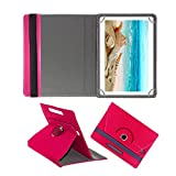 #8: Fastway Rotating Leather Flip Case for I KALL N10 Dual Sim 4G Calling Tablet with 10.1 inch Display Tablet Cover Stand Pink