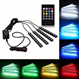 #1: Rally 4 In1 Atmosphere Music Control 9 Led Foot Strip Light Car Interior Decorative Light