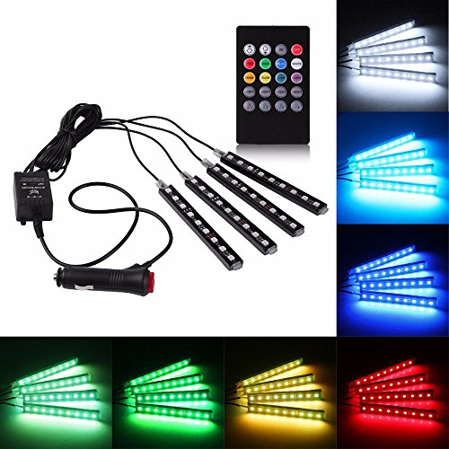Rally 4 In1 Atmosphere Music Control 9 Led Foot Strip Light Car Interior Decorative Light