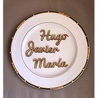 Nombres marcasitios de madera (precio por unidad). Personalizados. Ideal bodas, comuniones, bautizos, cumpleaños, celebraciones. Producto 100% español.