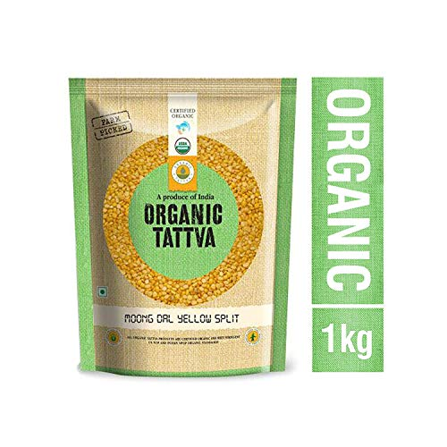 Organic Tattva Traditional Indian Food MOONG DAL YELLOW SPLIT, 1KG - 100% Organic Food Fresh Pure Natural Healthy & Chemical Free Food