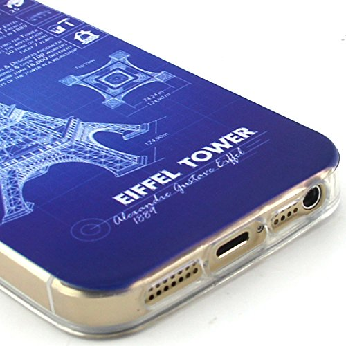 Voguecase® Per Apple iPhone 5 5G 5S, Custodia Silicone Morbido Flessibile TPU Custodia Case Cover Protettivo Skin Caso (Gatto / ECG) Con Stilo Penna nottilucenti torre