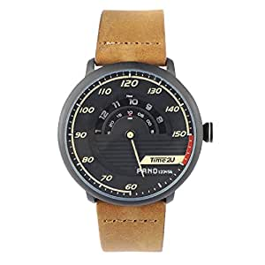 Time2U S9144G Men's Analog Car Speedometer Read Design Sports Wristwatch | Stainless Steel IPB Painted | Black Case and Brown Genuine Leather Strap