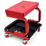 RACEFOXX Montagehocker, Boxenstuhl, Werkstattstuhl mit 4 Rollen und weicher Sitzauflage