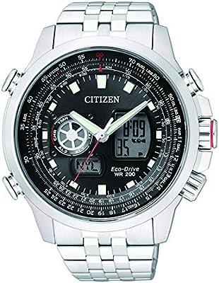Citizen Promaster Sky - Reloj de cuarzo para hombre, correa de acero inoxidable color plateado