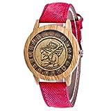 IG Invictus Damen Mode Casual Lederstrap Analog Quarz Runde Uhr T47 N Quarzuhr Rote Quarz Uhr