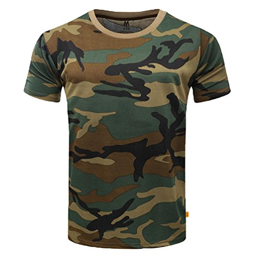 Yuandian uomo camuffare maglietta estate casuale all'aperto maniche corte leggero asciugatura veloce traspirante tattico militare camo top shirt giungla l