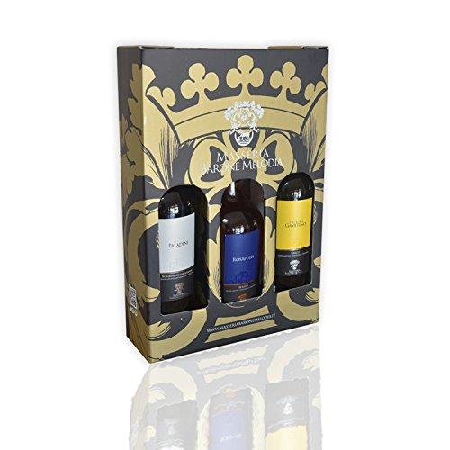 Masseria Barone Melodia Trittico 3 Vini: 1 Vino Rosato Rosapulia + 1 Vino Bianco Torre Gavetino + 1 Vino Bianco Paladini - Set 3 Vini in Confezione Regalo Risparmio