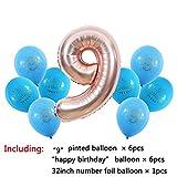LBZDR Ballon 1 2 3 4 5 6 7 8 9 Jahre alt Alles Gute zum Geburtstag Ballon Kinder 1. Geburtstag Ballon Anzahl Folienballon rosa Mädchen blau Junge Hochzeit Geburtstag Weihnachten Fest, K