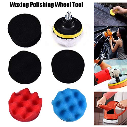 YUnnuopromi 7pcs 8cm Auto-Politur Wheel Buffing Pad Kit Bohr Adapter Scratch Remover 8cm