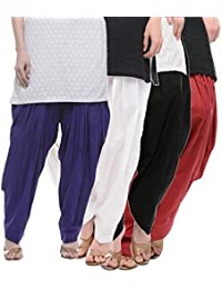 Crafts 100% Pure Solid Cotton Semi Patiala Salwar Bottoms Indoor Outdoor For Women's & Girls( Color White / Maroon...