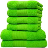 Liness Handtücher-Set 6 tlg 4 x Handtuch 50x100 cm 2 Duschtücher Badetücher 70x140 cm 100% Baumwolle grün
