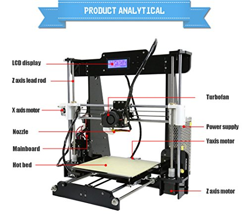 Top Anet A8 High Precision Desktop 3D Printer Kits Reprap Prusa i3 MK8 Extruder Nozzle Acrylic Frame LCD Screen with 8GB SD Card Printing Size 220*220*240mm Support ABS/PLA/HIP/PP/Wood Filament on Line