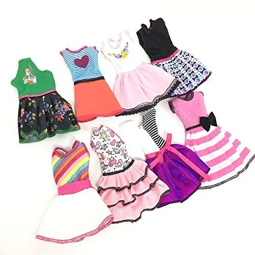Zantec Puppen modische Kleidung gesetzt lässig einteiliges Kleid für Barbie Puppe Stil zufällig (Anna Schuhe Krönung)