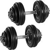 MOVIT® Gusseisen Kurzhantel 2er Set, Varianten 20kg, 30kg, 40kg, 50kg, 60kg, gerändelt mit Sternverschlüssen