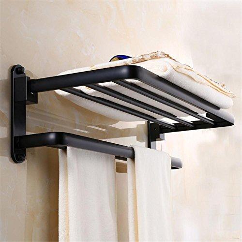 HomJo Leydee Toalla de aluminio de espacio negro Baño Toalla de baño Toalla de rack Montaje en la pared Baño Ducha Accesorio Toalla Barra de almacenamiento titular