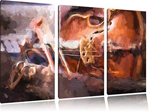 Alte-Violine-Pinsel-Effekt-3-Teiler-Leinwandbild-120x80-Bild-auf-Leinwand-XXL-riesige-Bilder-fertig-gerahmt-mit-Keilrahmen-Kunstdruck-auf-Wandbild-mit-Rahmen-gnstiger-als-Gemlde-oder-lbild-kein-Poster
