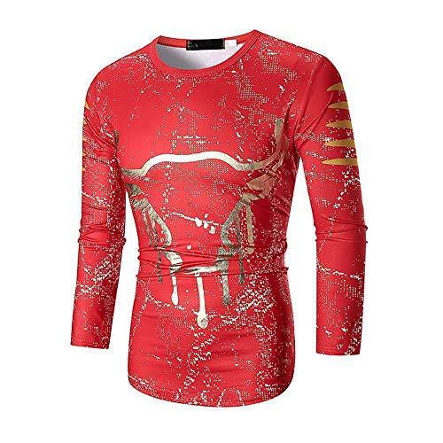 Houwo984 Maglietta Girocollo Manica Lunga Uomo Manica Lunga in Inchiostro Stampa Toro T-Shirt Manica Lunga Casual Taglia Forte (Color : 2, Size : XL)