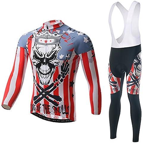 Diavolo ciclismo maglia manica lunga 3D imbottito Bib Pants Set cranio maschile, inverno all'aperto caldo pile abbigliamento sportivo , s
