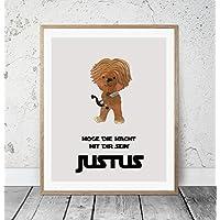 Kinderposter Namensbild Star Wars Chewbacca - Geburtsdruck mit Wunschname für Jungen, Geschenkidee zur Geburt, Taufe, Geburtstag; Kinderzimmer Wandbild personalisiert - ungerahmt