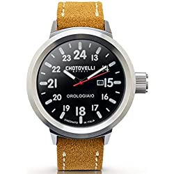 Chotovelli Big Pilot Men's Watch Aviation Dial Analogue Display Camel Suede Strap 747.02