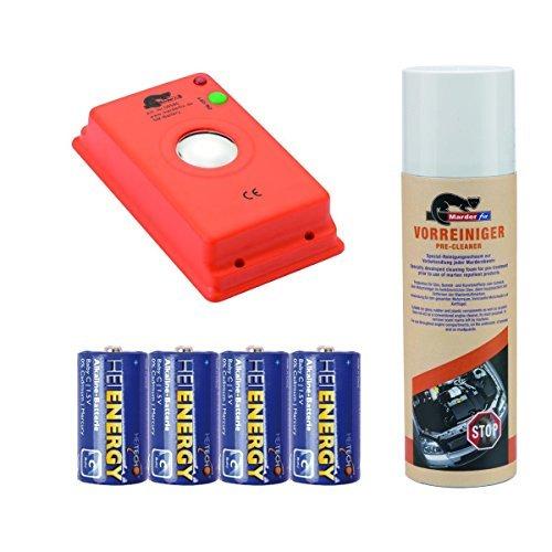 Preisvergleich Produktbild MARDERfix - Akustik Batterie inklusive Vorreiniger und Batterien - Marderabwehr im Auto, Haus und Hof