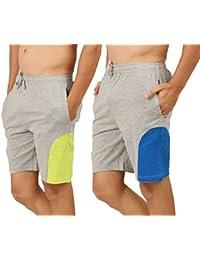 Clifton Men's Shorts MB04 Pack Of 2-Grey Melange-Lime Green-Grey Melange-Royal Blue