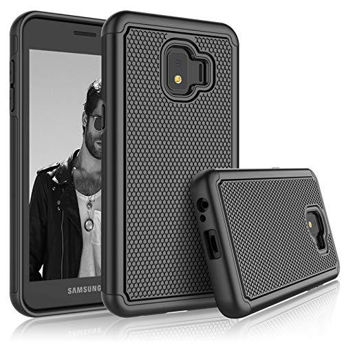 Schutzhülle für Galaxy J2 Core Samsung J2 Dash / J2 Pure / J260 für Mädchen, Tekcoo [Tmajor] Stoßdämpfendes Gummi-Silikon & Kunststoff Kratzfest Bumper Griff niedliche stabile Hartschale, schwarz T-mobile Dash-serie