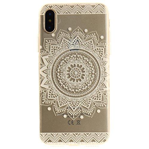 """Hülle für Apple iPhone X , IJIA Transparent Bunte Blumen TPU Weich Silikon Stoßkasten Cover Handyhülle Schutzhülle Bumper Handytasche Schale Case Tasche für Apple iPhone X (5.8"""") MM34"""